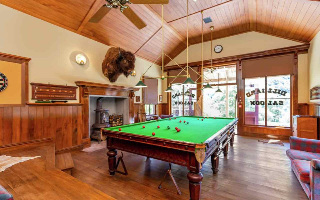 Wild West town New Zealand Mellons Folly Ranch Billiards Room
