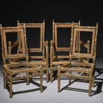 4 broken wooden chairs